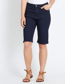 Rockmans Comfort Waist Knee Length Denim Short