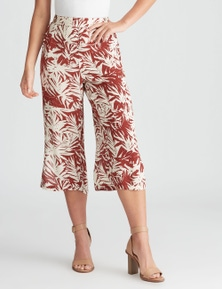 Rockmans Crop Rust Palm Print Pants