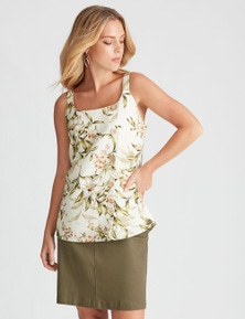 Table Eight Sleeveless Floral Button Front Top