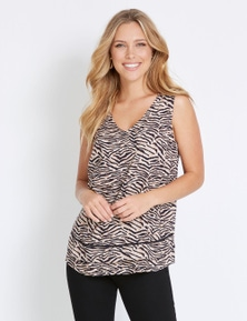 Rockmans Sleeveless V Lace Tropical Print Top