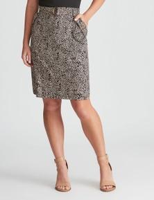 Rockmans Knee Length Linen Cargo Skirt