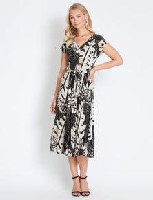 Rockmans Button Through Maxi Print Dress