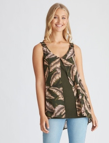 Rockmans Sleeveless Woven Layer Top