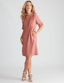 Rockmans Knee Length Pintuck Linen Blend Dress
