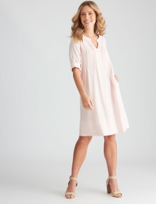 Rockmans Knee Length Pintuck Linen Blend Dress