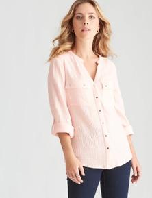 Rockmans Long Sleeve Textured Cotton Shirt