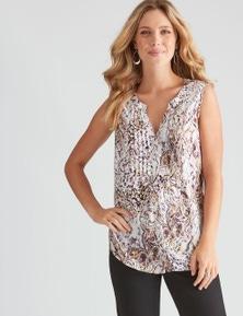 Rockmans Sleeveless Pintuck Print Shirt