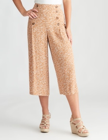 Rockmans Crop Button Front Detail Printed Pant