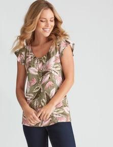 Rockmans Flutter Sleeve Floral Print Top