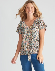 Rockmans Extended Sleeve Pretty Floral Print Top