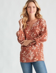 Rockmans 3/4 Sleeve Ditsy Linen Print Shirt