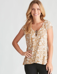 Rockmans Extended Sleeve Tuscany Print Top