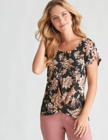 Rockmans Extended Sleeve Ring Detail Print Top