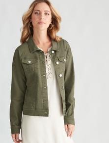 Rockmans Long Sleeve Khaki Denim Jacket