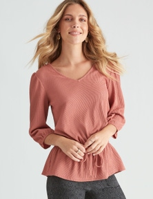 Rockmans Long Sleeve Textured Wrap Top
