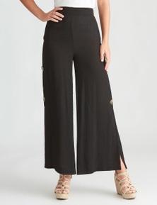 Rockmans Full Length Side Button Wide Leg Pant