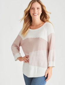 Rockmans 3/4 Sleeve Scoop Neck Multi Stitch Jumper