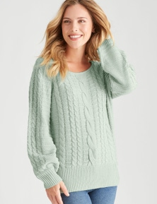 Rockmans Long Sleeve Cable Knit Button Jumper