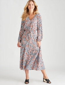 Rockmans Long Sleeve Arabella Print Dress