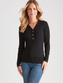 Rockmans Long Sleeve Button Front Basic Rib Knit