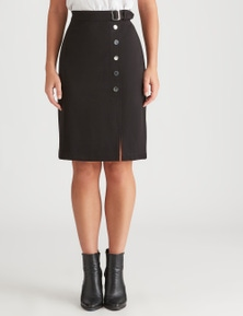 Rockmans Knee Length Buckle Ponte Skirt