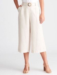 Rockmans Crop Buckle Linen Pant