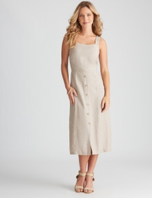 Rockmans Sleeveless Linen Button Through Dress