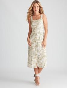 Rockmans Sleeveless Linen Button Through Dress