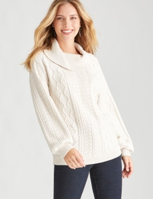 Table Eight Long Sleeve Cable Sweater