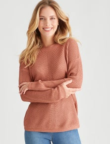 Table Eight Long Sleeve Curved Hem Sweater