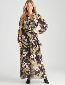 Table Eight Long Sleeve Printed Maxi Dress