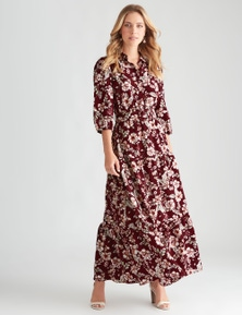 Table Eight 3/4 Sleeve Floral Print Dress