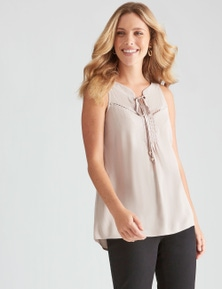 Table Eight Sleeveless Lace Trim Top