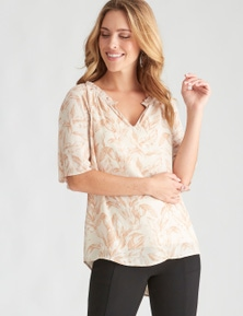 Table Eight Flutter Sleeve Print Top