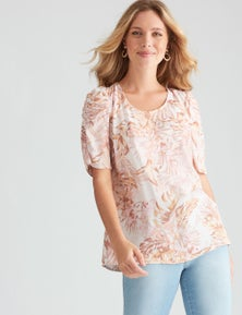 Table Eight Elbow Sleeve Floral Print Top