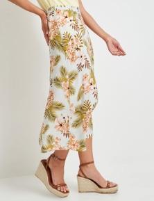 Table Eight Midi Length Button Skirt