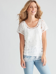 Rockmans Short Sleeve Crochet Top