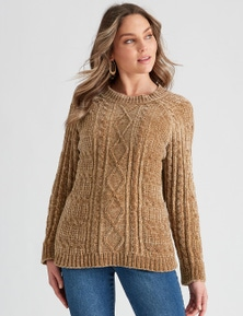 Rockmans Long Sleeve Chenille Cable Knit