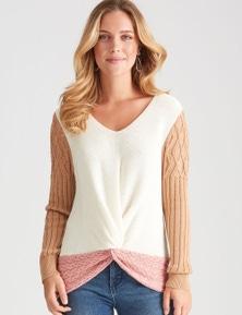 Rockmans Long Sleeve Twist Front Colour Block Knit