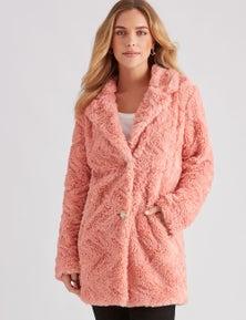 Rockmans Long Sleeve Longline Teddy Lapel Coat
