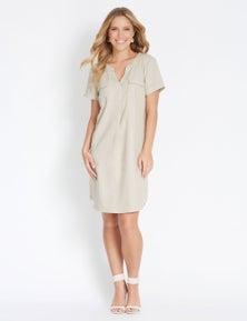 Rockmans Short Sleeve Linen Shirt Dress