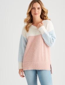 Rockmans Long Sleeve Fuzzy Colour Block Knit