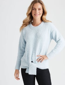 Rockmans Long Sleeve Fuzzy Tie Front Knit