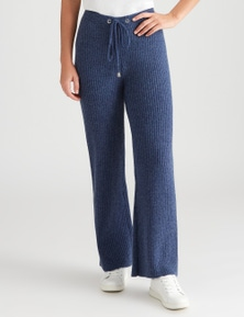 Rockmans Ankle Length Knitted Wide Leg Rib Pant
