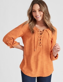Rockmans 3/4 Sleeve Woven Lace up Shirt