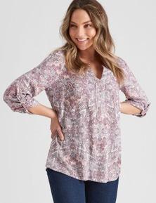 Rockmans Long Sleeve Woven Placket Paisley Shirt
