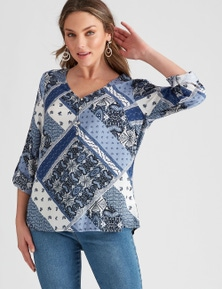 Rockmans Long Sleeve Woven Embroidery Print Shirt