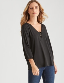 Rockmans 3/4 Sleeve Ring Detail Top
