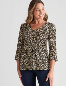 Rockmans 3/4 Ruch Sleeve Top