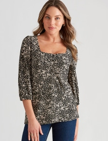 Rockmans 3/4 Sleeve Ruched Top